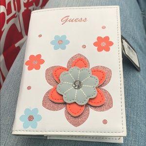 Guess 3-D Light Blue Flower Passport Holder